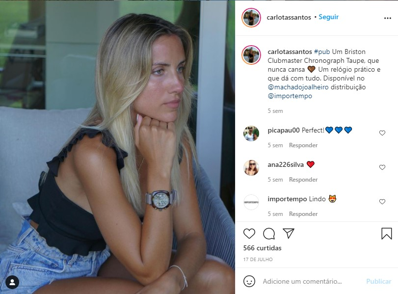 Imagem da notícia: Carlota Santos publica post Briston